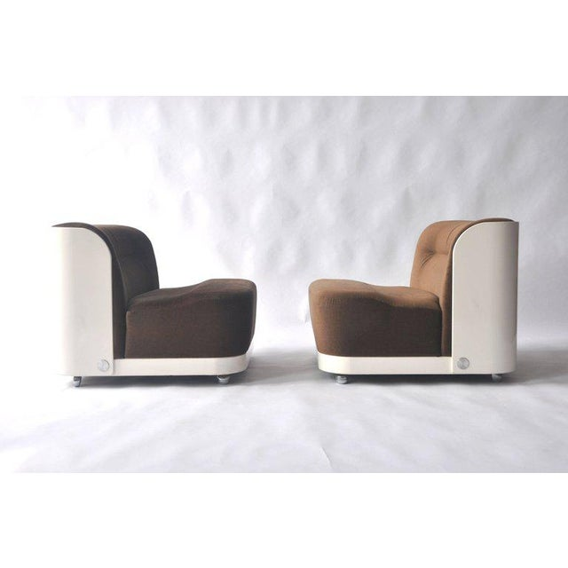 """Pair of """"Trinom"""" lounge chairs by Peter Maly. Painted wood."""