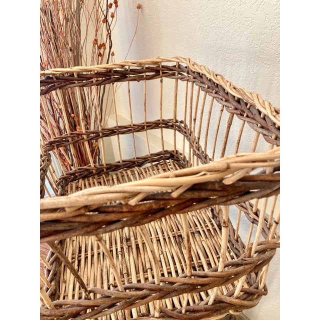 Wicker Crisscross Open Weave Handwoven Rattan & Willow Basket by Three Hands - Circa 1990 For Sale - Image 7 of 13
