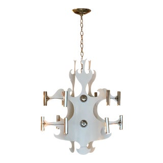 1980s Modernist White Metal and Chrome Cutout Light Fixture For Sale
