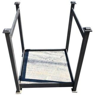 Small Modern Log Holder With Slate Base For Sale