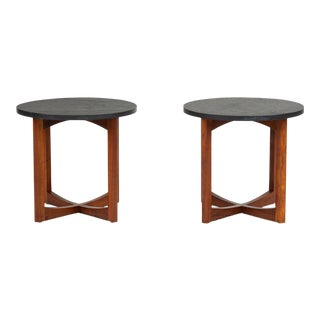 Pair of Round Side Tables With Slate Top For Sale