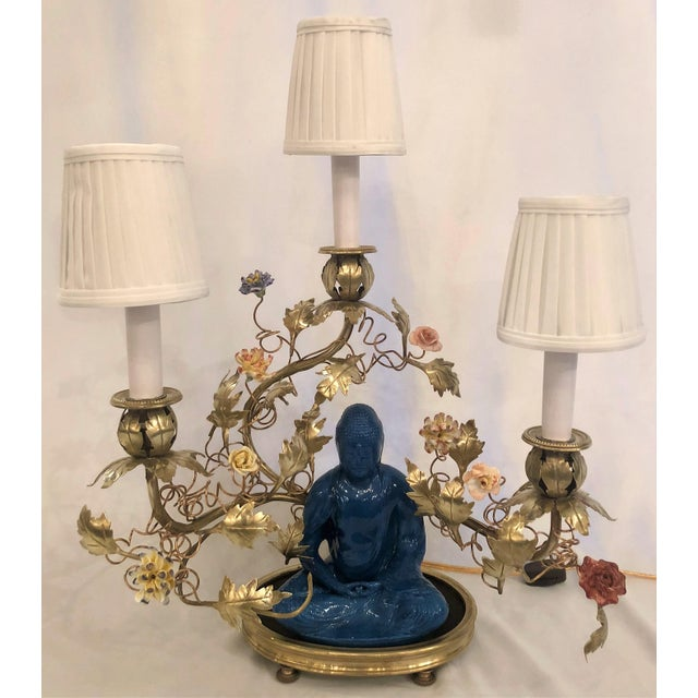 Antique Chinoiserie Porcelain Buddha Lamp With Saxe Flowers, Circa 1890. For Sale - Image 4 of 4