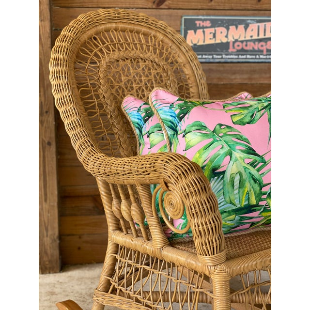 1980's Vintage Fiddlehead Wicker Rocking Chair For Sale - Image 9 of 12
