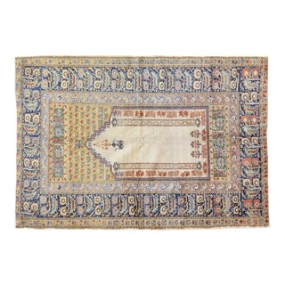 """Vintage Turkish Anatolian Hand Knotted Organic Wool Fine Weave Prayer Rug,4'1""""x5'9"""" For Sale"""