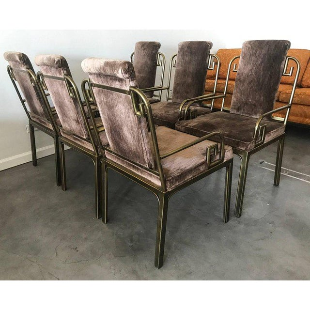 1970s 1970s Mastercraft Brass Greek Key Dining Chairs - set of 6 For Sale - Image 5 of 6