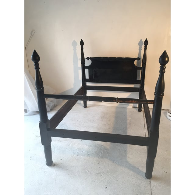 Gorgeous Antique 4-Post Pilgrim Bed Black Patina 80 x 55 Distressed Wear Heavy Solid Wood, not standard bed size, will...