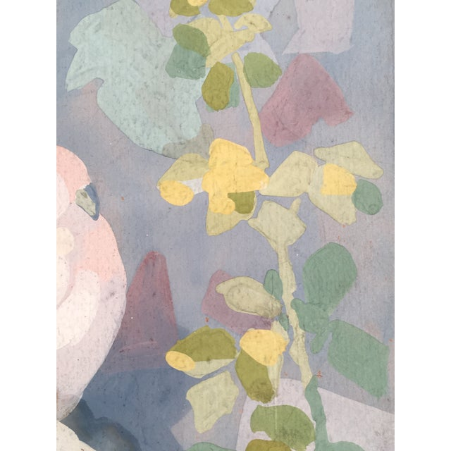 Art Deco Gouache Painting of Doves in a Floral Landscape For Sale - Image 4 of 6