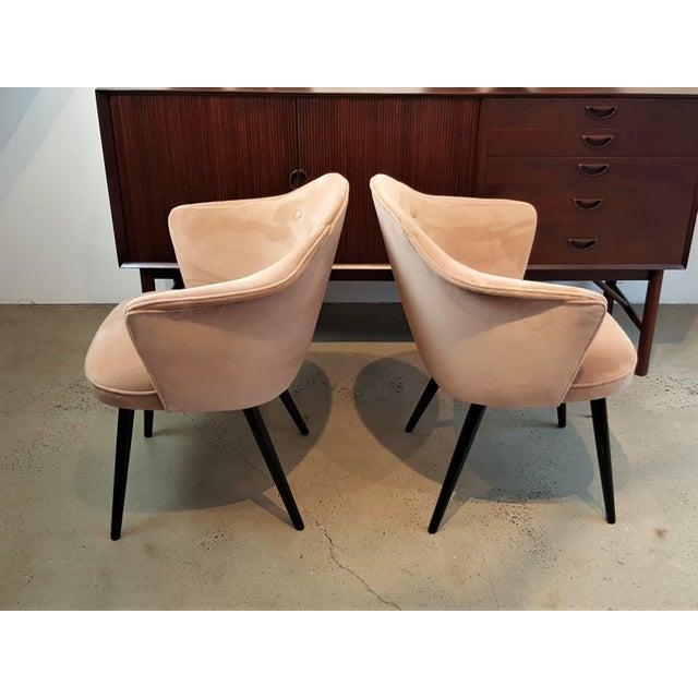 Italian Modern Blush Velvet Chairs - A Pair For Sale - Image 5 of 10