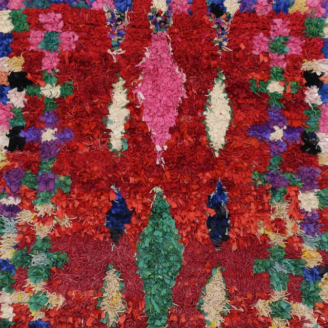 Abstract Vintage Berber Moroccan Boucherouite Rug For Sale - Image 3 of 6