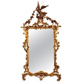 Image of Large Italian Chippendale Giltwood Wall or Console Mirror For Sale