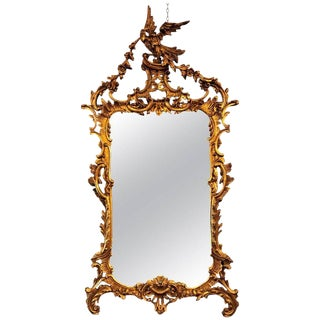 Large Italian Chippendale Giltwood Wall or Console Mirror For Sale