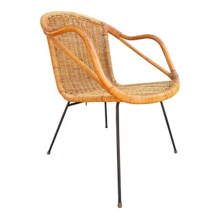 Mid Century Modern Iron & Rattan Accent Side Chair For Sale