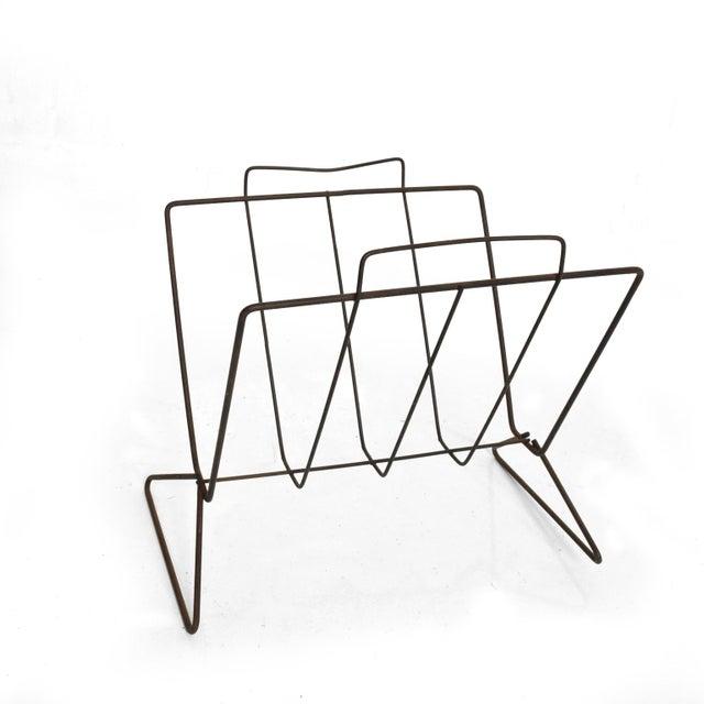 Metal Mid-Century Modern Nelson Era Sculptural Iron Magazine Rack For Sale - Image 7 of 7