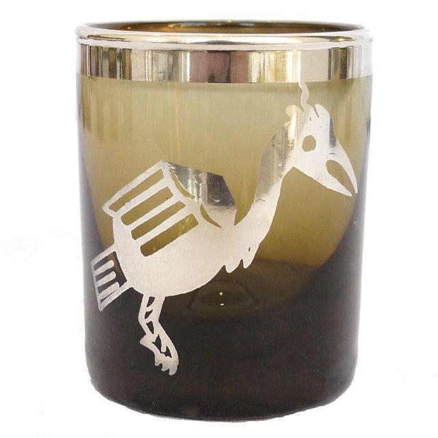 Italian Small Smoke Tumblers Silver Meso-American Design - Set of 8 For Sale - Image 3 of 6