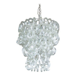 Murano Glass Clear C Link Chandelier For Sale