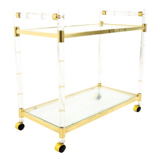 Mid Century Lucite Brass and Glass Bar Cart For Sale