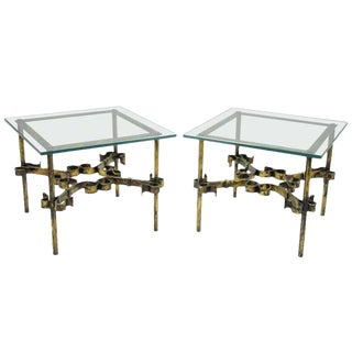20th Century Hollywood Regency Gold Gilt Iron Square Glass Top Side Tables - a Pair For Sale