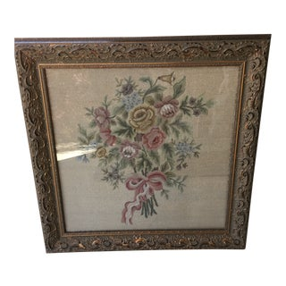 Vintage Needlepoint & Petite-Point Floral Ribbon Bouquet For Sale
