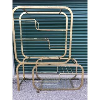 1970s Vintage Milo Baughman Brass Shelving Unit Preview