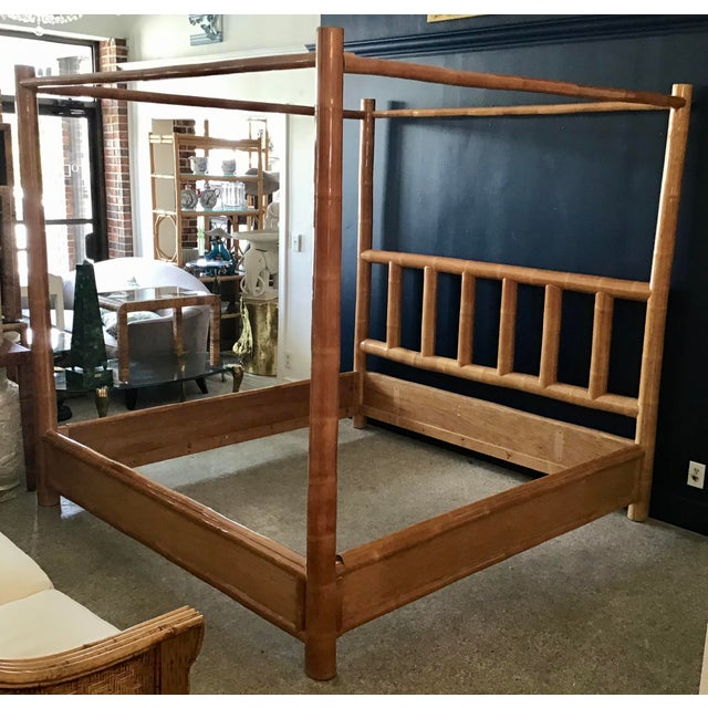 Vintage Boho Chic King Size Bamboo Canopy Bedframe For Sale - Image 4 of 12