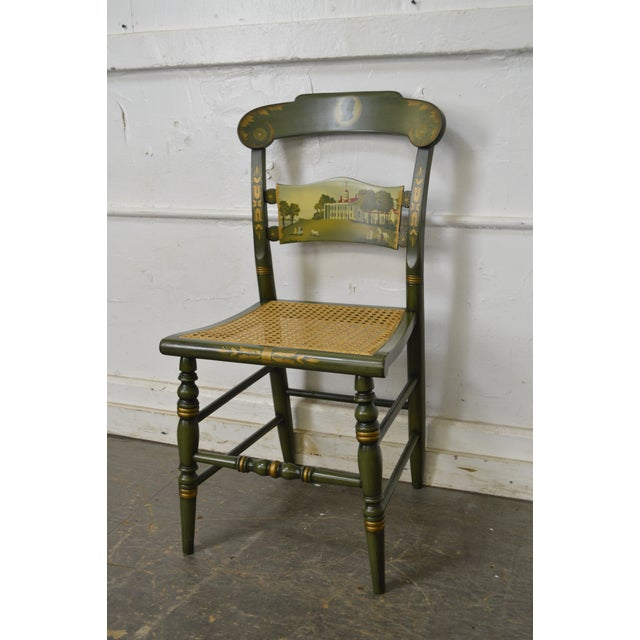 Hitchcock Green Painted George Washington Mount Vernon Cane Seat Side Chair For Sale In Philadelphia - Image 6 of 13
