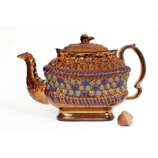 19th Century Boho Chic Copper Lustreware Teapot With Lid For Sale