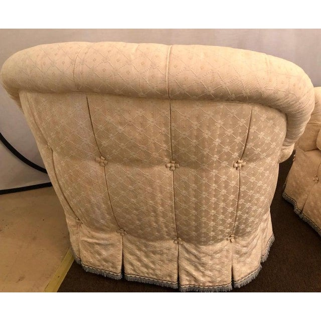 Wood Pair of Lined and Pleated Spectacular Overstuffed Boudoir or Lounge Chairs For Sale - Image 7 of 13