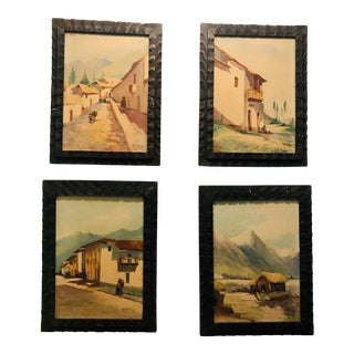 Hand Painted Mexican Art Scenes - Set of 4 For Sale
