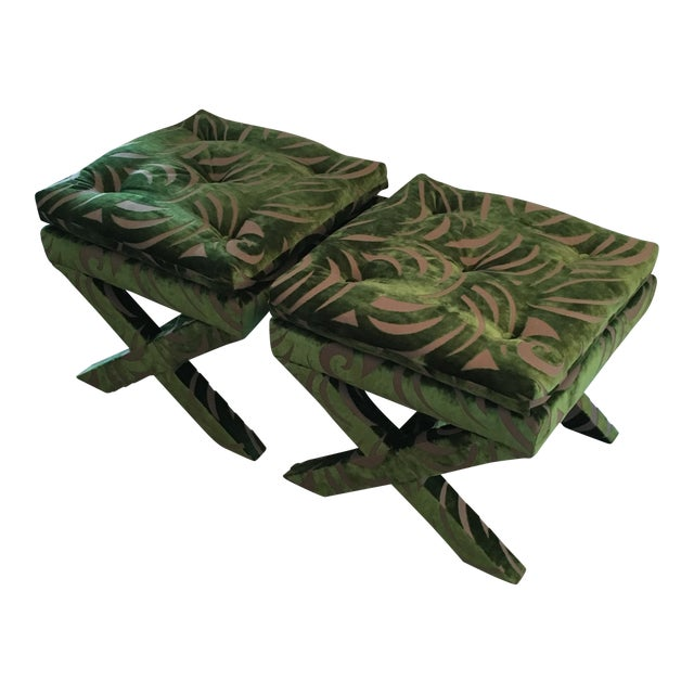 "Pair of Newly Upholstered Billy Baldwin ""X"" Benches - Image 1 of 7"