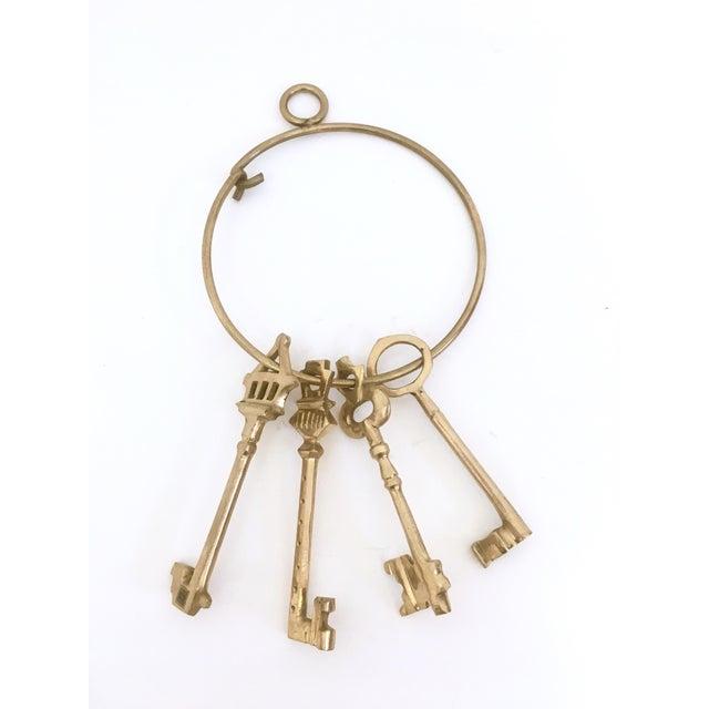 Large Brass Skeleton Keys on Brass Ring - Image 2 of 5
