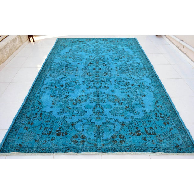 """Cyan Blue Overdyed Turkish Hand Knotted Rug - 6'5"""" X 10' For Sale - Image 10 of 10"""