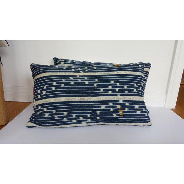 Vintage African Indigo Mudcloth Lumbar Pillow - Image 3 of 5
