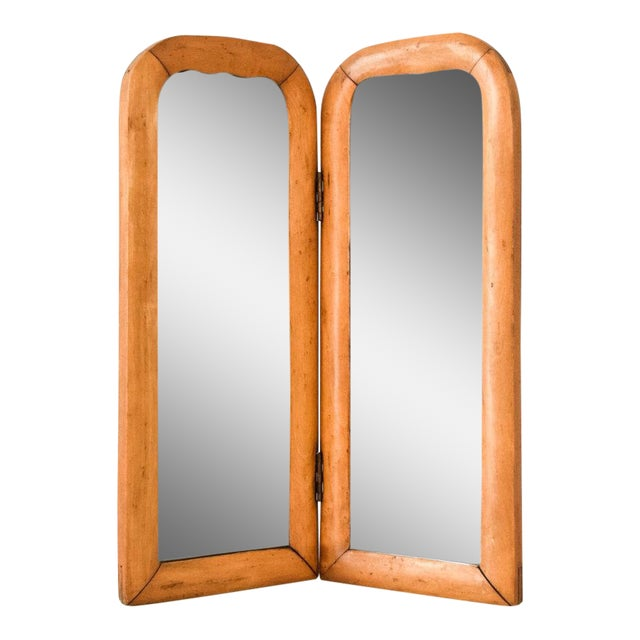 Vintage Antique Wood Bi Fold Beveled Table Top Mirror