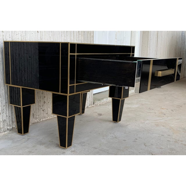 Brass New Pair of Mirrored Low Nightstand in Black Mirror and Chrome With Drawer For Sale - Image 7 of 11