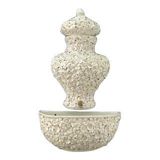 Italian Fiori Blanco Lavabo Wall Fountain and Cistern For Sale