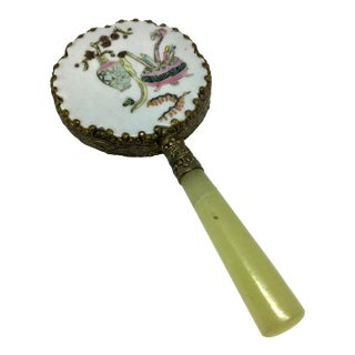 Antique Vintage Chinese Jade & Porcelain Hand Mirror For Sale