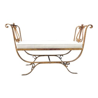Neoclassical Style Gold Gilt Iron Bench For Sale