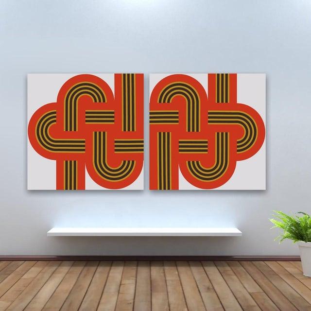 """Weave"" Original 1970s Red Silk-Screens - A Pair - Image 2 of 2"