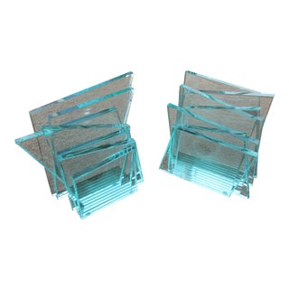 Geometric Stacked Glass Bookends