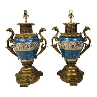 Blue Porcelain Lamps - a Pair For Sale