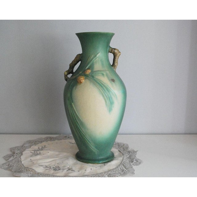 1930s Arts and Crafts Roseville Pottery Green Pinecone Floor Vase For Sale - Image 10 of 10