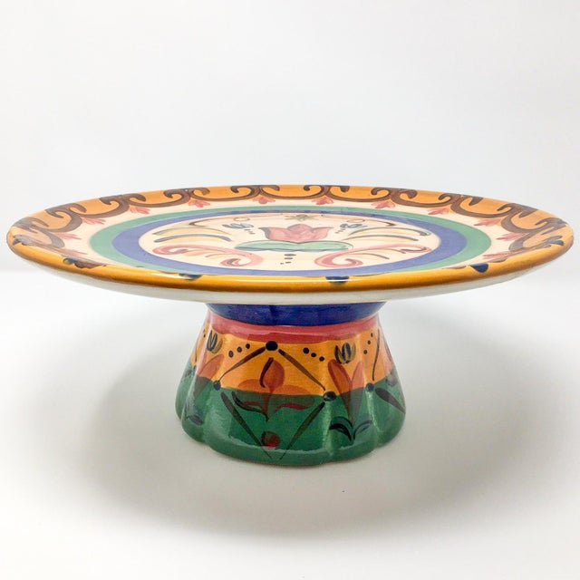"""Vicki Carroll """"Sil Vous Plait"""" Footed Cake Plate For Sale - Image 4 of 13"""
