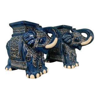 Chinese Elephant Glazed Ceramic Garden Stools - a Pair For Sale