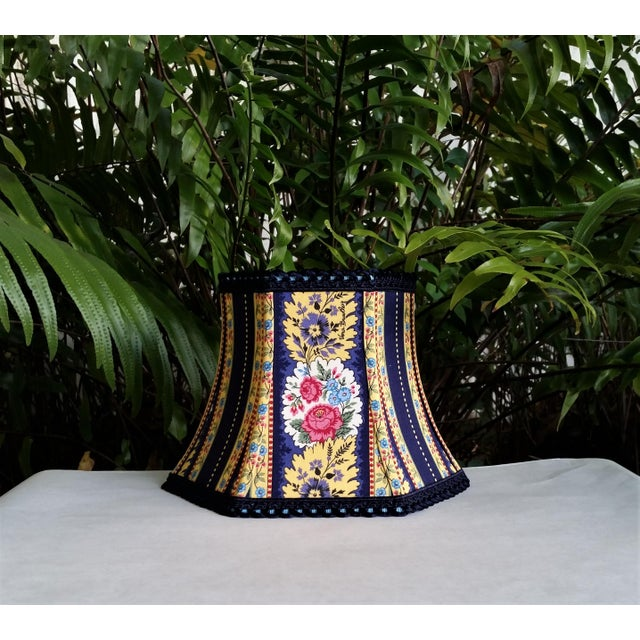 Vera Bradley Fabric Lampshade Hex Bell For Sale - Image 9 of 11