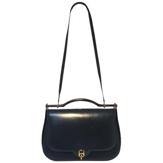 Hermes Vintage Navy Blue Leather Top Handle Shoulder Bag For Sale