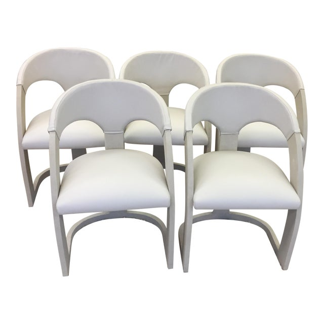 Emporium Home Shagreen and Leather Dining Chairs - Set of 6 For Sale