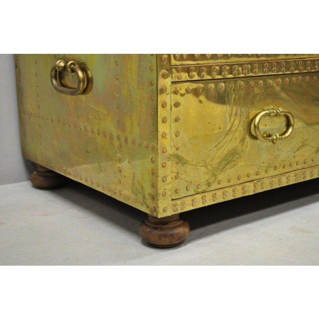 Vintage Sarreid Two Drawer Brass Studded Campaign Style Low Chest of Drawers For Sale In Philadelphia - Image 6 of 13