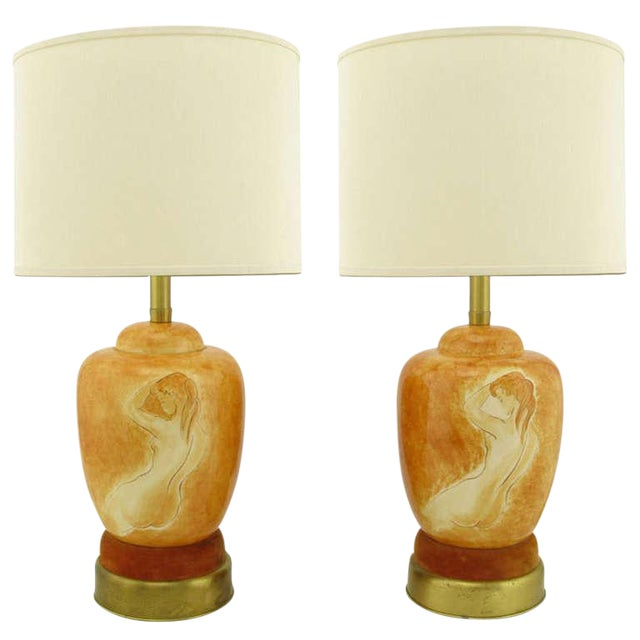 Pair Sevres Porcelain Handpainted Female Nude Table Lamps For Sale