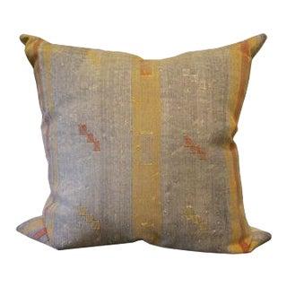 Blue Multi Colored Textile Square Pillow For Sale