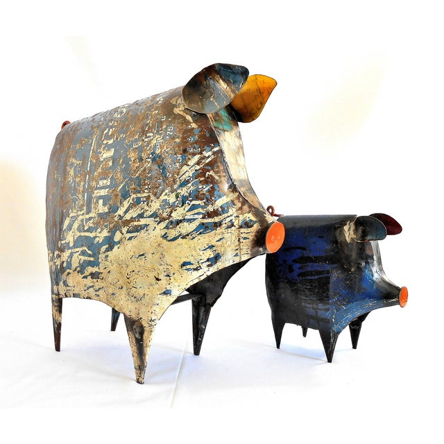 Metal Recycled Metal Pig Sculptures - A Pair For Sale - Image 7 of 8